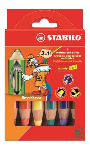 Stabilo Woody 3 in 1, 6er Pack