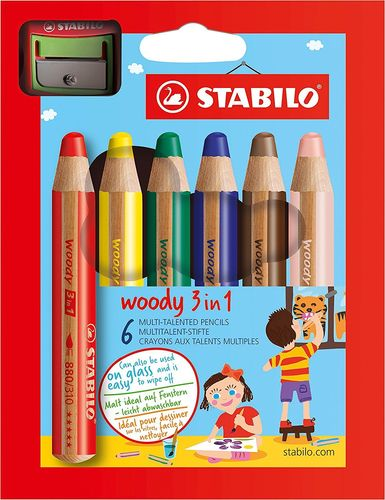 Stabilo Woody 3 in 1, 6er Pack mit Spitzer